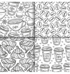 coffee cups beans mugs macaroons hand drawn vector image
