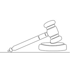 continuous single drawn one line hammer judge vector image