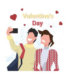 Couple taking selfie photo happy valentines day vector