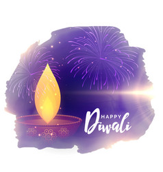 creative diwali festival greeting with diya and vector image