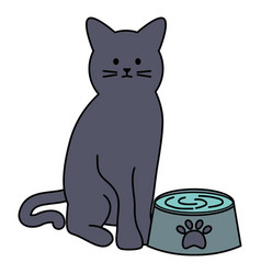 Cute cat mascot with dish water vector