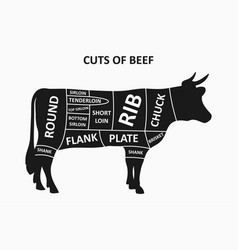 cuts beef scheme with cow meat cuts poster vector image