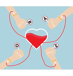 Donate Blood To Heart Shape vector image