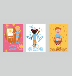 drawing kids boy girl character painting in vector image