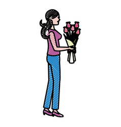 Drawing mother woman flower bouquet celebration vector