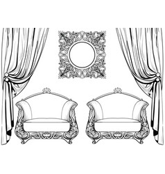 Exquisite imperial baroque armchair and mirror vector
