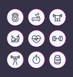 fitness line icons gym workout training vector image