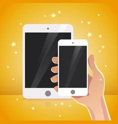 flat human hand holding smartphone cartoon style vector image