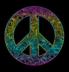 floral peace symbol vector image