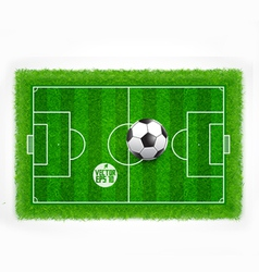 Football field top view with realistic green grass vector