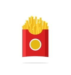 French fries in paper package box isolated vector image