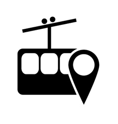 Funicular and gps map pointer icon vector