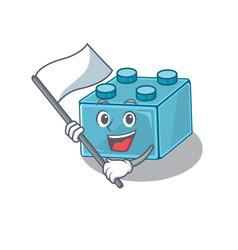 Funny lego brick toys cartoon character style vector