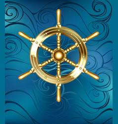 Golden ship wheel vector