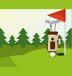 golf bag ball red flag trees in the field vector image