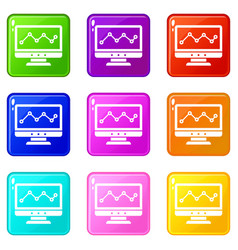graph in computer screen icons 9 set vector image