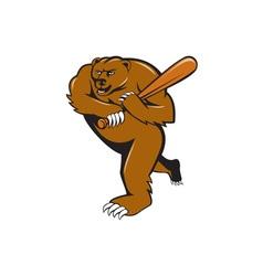 Grizzly Bear Baseball Player Batting Cartoon vector image
