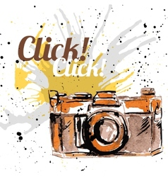 Grunge ink camera vector image