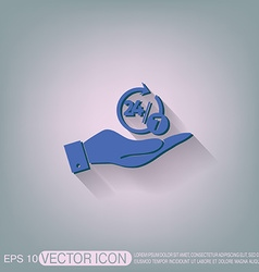 hand holding a character 24 7 vector image