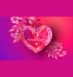 happy mother day greating card purple and red vector image