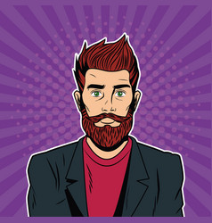 hispter male pop art cartoon vector image
