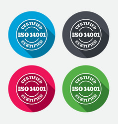 ISO 14001 certified sign Certification stamp vector image
