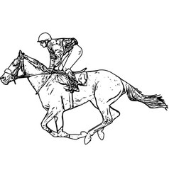 jockey riding race horse drawing vector image