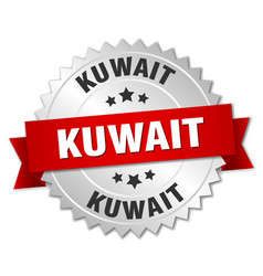 Kuwait round silver badge with red ribbon vector