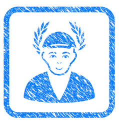 Laureate man framed stamp vector