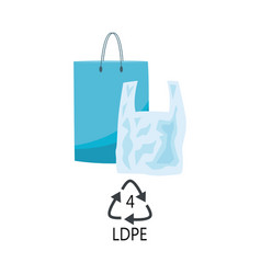 Ldpe 4 plastic type - blue polythene shopping bags vector