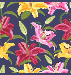 Lily flower seamless pattern on blue background vector