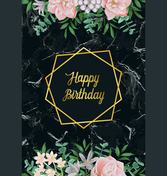 Luxury happy birthday card with pink flowers vector