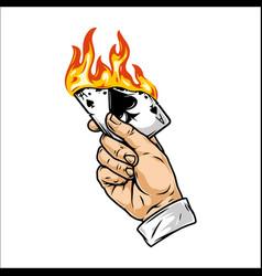 Male hand holding burning playing card vector