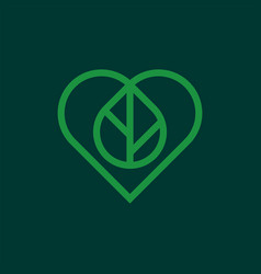 Modern professional icon heart and leaf in green vector
