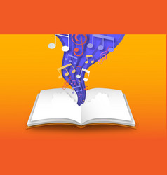 Open book with 3d papercut color music notes vector