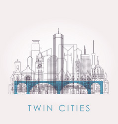 Outline twin cities skyline with landmarks vector