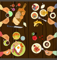 Persons is eating breakfast vector