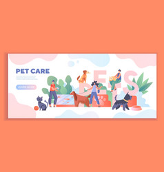 Pet care concept with people with dogs and cats vector