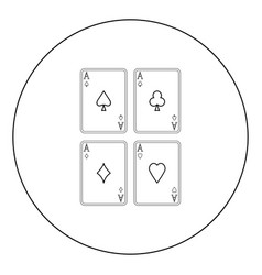 playing cards icon black color in circle isolated vector image