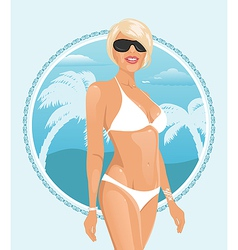 pretty girl on a summer background vector image