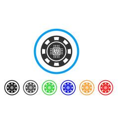 Processor casino chip icon vector