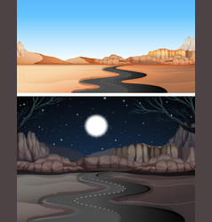 Road to the desert day and night vector