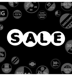 Sale gray dark poster with circle icons set for vector