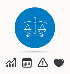 Scales of justice icon law and judge sign vector