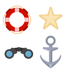 sea navigation objects set marine icons set vector image