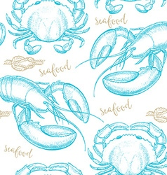 Seamless pattern background with seafood elements vector