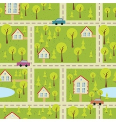 seamless pattern with light asphalt and houses vector image