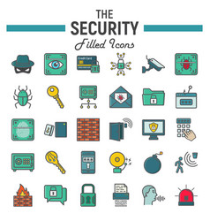 security colorful line icon set cyber protection vector image