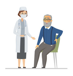 Senior man consulting with a doctor - flat design vector