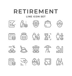 Set line icons retirement or pension vector